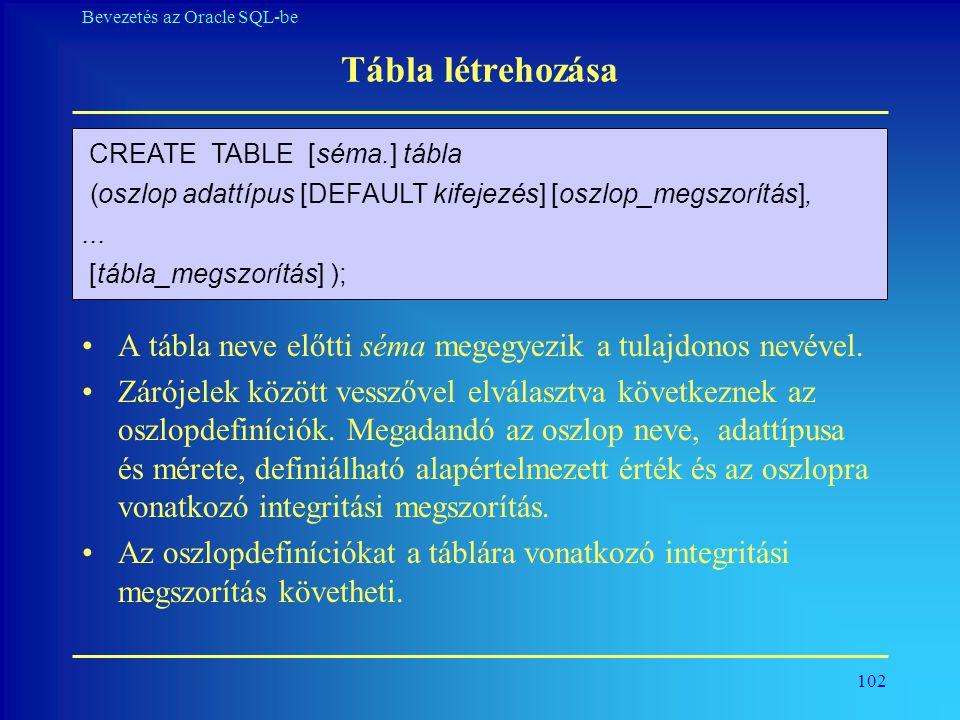 Tábla létrehozása CREATE TABLE [séma.] tábla. ( oszlop adattípus [DEFAULT kifejezés] [oszlop_megszorítás],